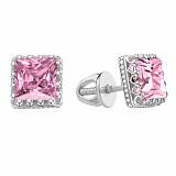 Серебряные пуссеты Гвиневра с розовыми фианитами