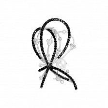 Серебряная брошь Фэнтэзи с жемчугом, черными и белыми фианитами