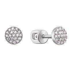 Серьги-пуссеты из белого золота с бриллиантами 000106288