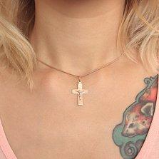 Золотой крестик Истина с прямоугольной плоской основой