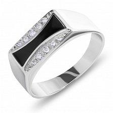 Серебряный перстень-печатка Грег с дорожками белых фианитов и черной эмалью