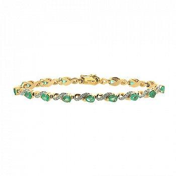 Золотой браслет с бриллиантами и изумрудами 000022099