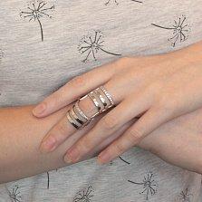 Серебряное кольцо Корсетное на две фаланги с фианитами