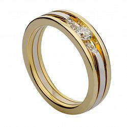 Кольцо с бриллиантами из комбинированного золота Chic