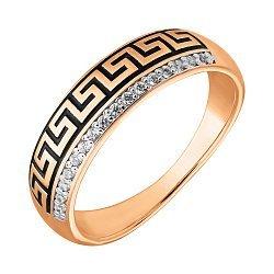 Золотое кольцо Голди в комбинированном цвете с фианитами и черной эмалью