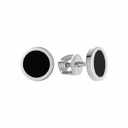 Золотые серьги-пуссеты Тоннель в белом цвете с черным агатом