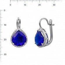 Серебряные серьги Фаиза с ультрамариново-синим синтезированным кварцем и фианитами