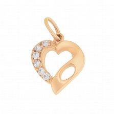 Золотой кулон Венера с сердечком и дорожкой фианитов
