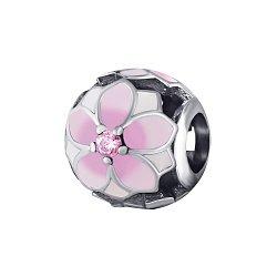 Серебряный шарм Магнолия с розовыми фианитами и цветами