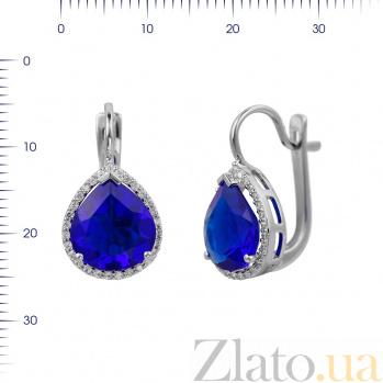 Серебряные серьги Фаиза с ультрамариново-синим синтезированным кварцем и фианитами 000081862