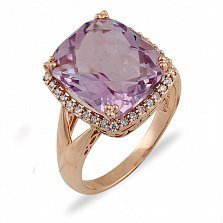 Золотое кольцо Ирвин с аметистом и бриллиантами