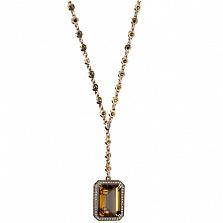 Золотое колье с бриллиантами и цитрином Виктория