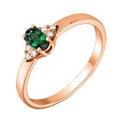 Кольцо из красного золота с изумрудом и бриллиантами 000124909