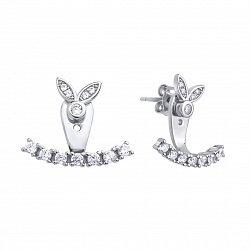 Серебряные серьги-джекеты с кристаллами циркония 000121411