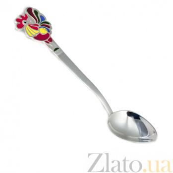 Серебряная чайная ложка Петушок с разноцветной эмалью 000043601