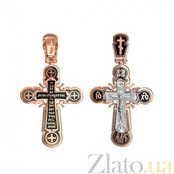 Золотой крестик с черной эмалью Посланник Господа VLT--КЭ3М3659
