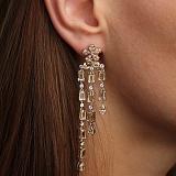 Серебряные пуссеты-подвески Медовые цветы с фианитами