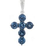 Золотой крестик с синими топазами Милосердие