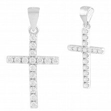 Серебряный декоративный крестик Нитра с кристаллами циркония