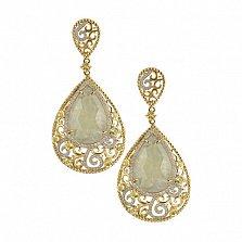 Золотые серьги Царевна с лимонным кварцем и бриллиантами