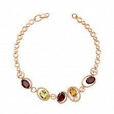 Золотой браслет Олимпия в красном цвете с цитрином, хризолитом, гранатом и фианитами