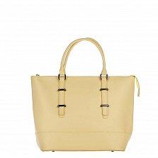 Кожаная сумка на каждый день Genuine Leather 8615 желтого цвета на молнии, со съемным ремнем