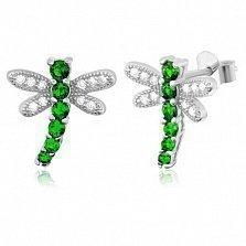 Серебряные сережки с зеленым цирконием Стрекозы