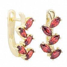 Позолоченные серьги из серебра с красными фианитами Ветвь