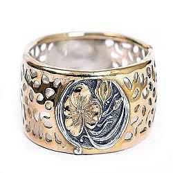 Серебряный жесткий браслет Табити с позолотой
