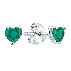 Серебряные серьги-пуссеты с зелеными агатами 000125141