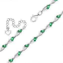 Серебряный браслет с зеленым кварцем и фианитами 000131010