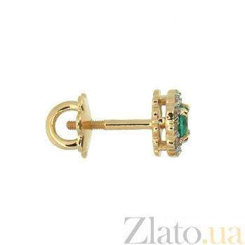 Золотые серьги-пуссеты с бриллиантами и изумрудами Лиора ZMX--EE-6539_K