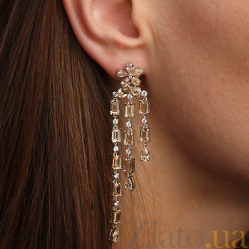 Серебряные пуссеты-подвески Медовые цветы с фианитами 000059754