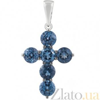 Золотой крестик с синими топазами Милосердие KBL--П213/бел/топ