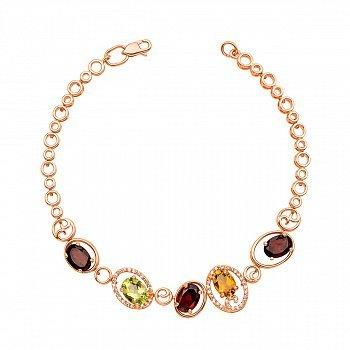 Золотой браслет в красном цвете с цитрином, хризолитом, гранатом и фианитами 000125367