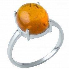 Серебряное кольцо Капля меда с янтарем