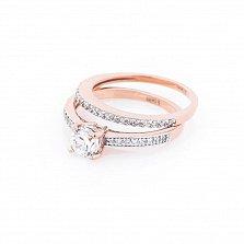 Золотое двойное кольцо Альфреда с фианитами