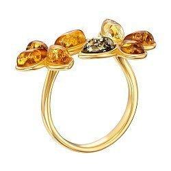 Серебряное кольцо с янтарем и позолотой 000137653