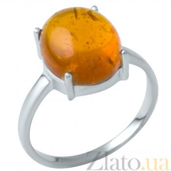 Серебряное кольцо Капля меда с янтарем 000105092