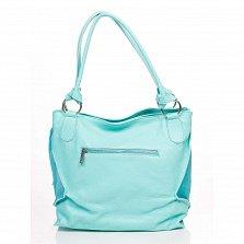 Кожаная сумка на каждый день Genuine Leather 8954 бирюзового цвета с декоративной кистью на цепочке