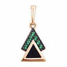 Золотой кулон Мистический треугольник в комбинированном цвете с агатом и фианитами