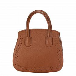 Кожаная деловая сумка Genuine Leather 8629 коричневого цвета с тремя отделениями на молнии
