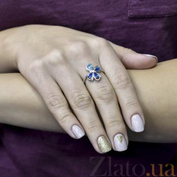 Серебряное кольцо Игривая бабочка с голубым и синими фианитами 000096627