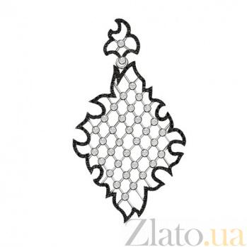 Золотой кулон Феридэ в комбинированном цвете с черными и белыми фианитами VLT--Т3380