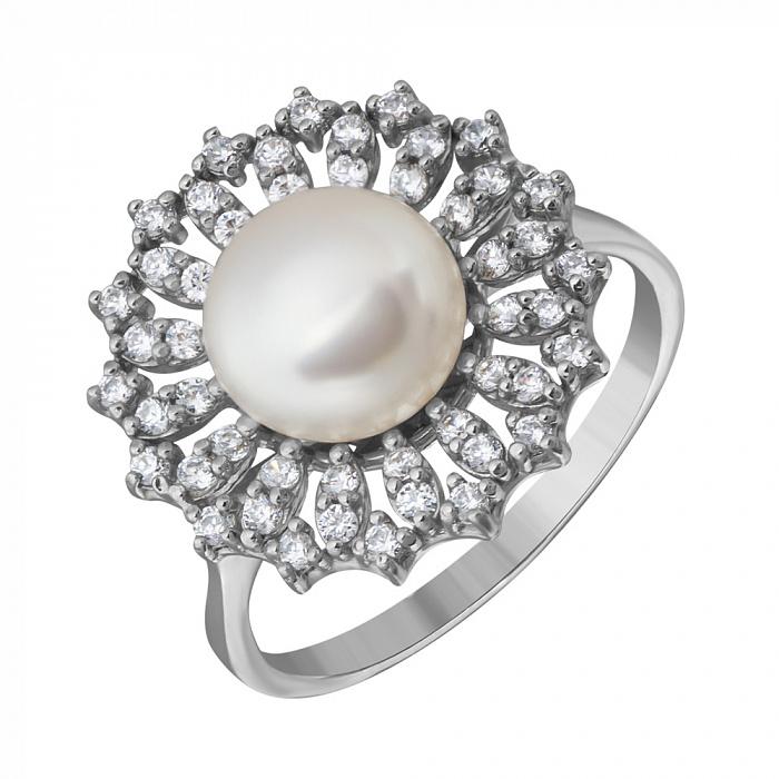 Серебряное кольцо Дарлайн с белой жемчужиной и фианитами PTL--7к685/35