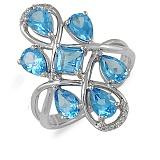 Кольцо Гламур из белого золота с бриллиантами и топазами