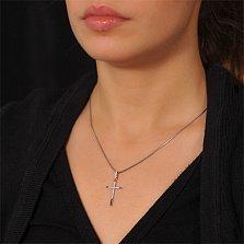 Крестик из белого золота Чистый свет с бриллиантами
