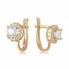 Золотые серьги с кристаллами Swarovski Снежное утро