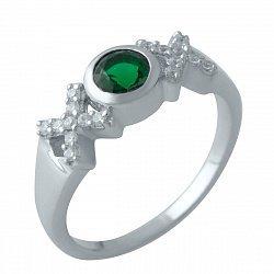 Серебряное кольцо с синтезированным изумрудом, фианитами и родированием 000128770