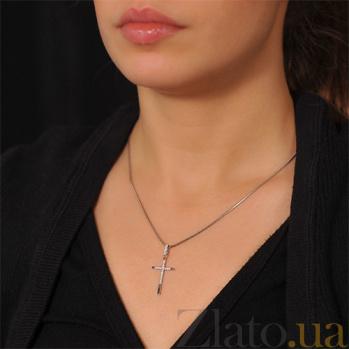 Крестик из белого золота Чистый свет с бриллиантами EDM--КР7147/1